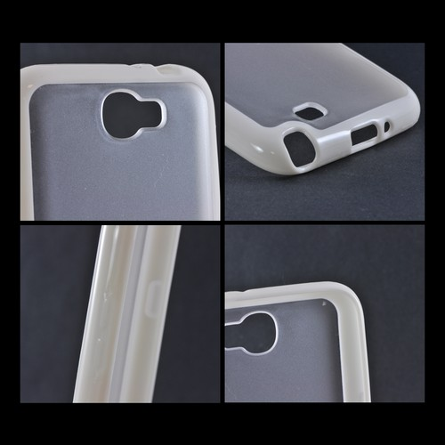 Samsung Galaxy Note 2 Hard Back w/ Gummy Silicone Border Case - White/ Clear