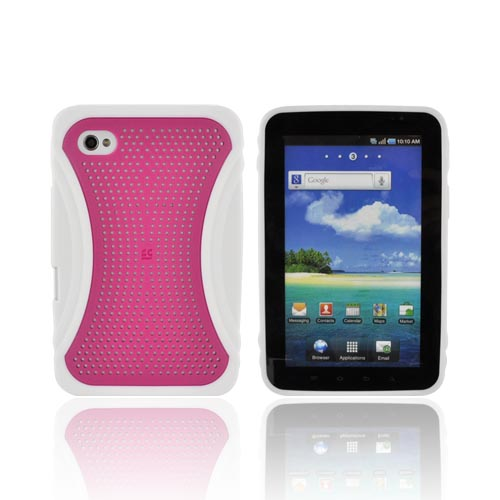 Samsung Galaxy Tab P1000 Hard Case w/ Gummy Crystal Silicone Lining - Xmatrix Hot Pink/ White