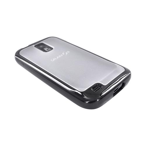 T-Mobile Samsung Galaxy S2 Hard Back w/ Gummy Silicone Border Case - Black/ Frost White