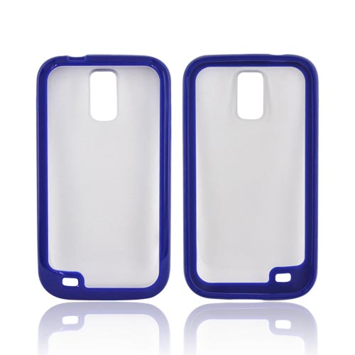T-Mobile Samsung Galaxy S2 Hard Back w/ Gummy Silicone Border - Blue/ Frost White