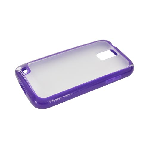 T-Mobile Samsung Galaxy S2 Hard Case w/ Gummy Silicone Border - Purple/ Frost White