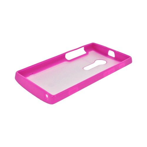 Sony Xperia Ion T28i Hard Back Case w/ Gummy Crystal Silicone Lining - Frost White/ Pink