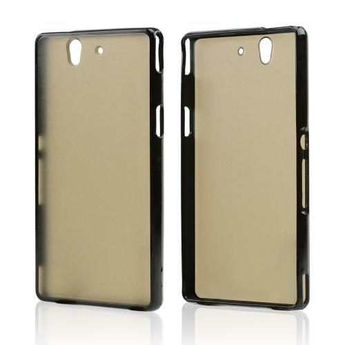 Clear Hard Back w/ Black Crystal Silicone Skin Border for Sony Xperia Z
