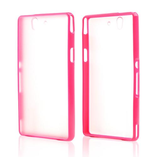 Clear Hard Back w/ Hot Pink Crystal Silicone Skin Border for Sony Xperia Z