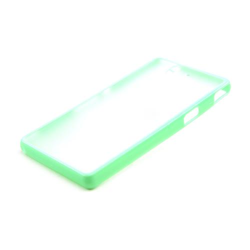 Clear Hard Back w/ Neon Green Crystal Silicone Skin Border for Sony Xperia Z