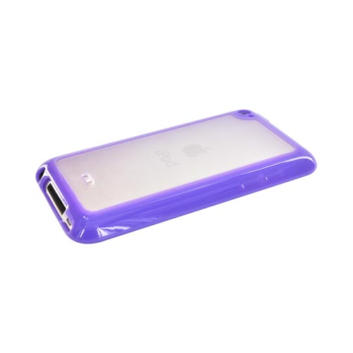 Luxmo Apple iPod Touch 4 Hard Back Case w/ Gummy Crystal Silicone Lining - Clear/Purple