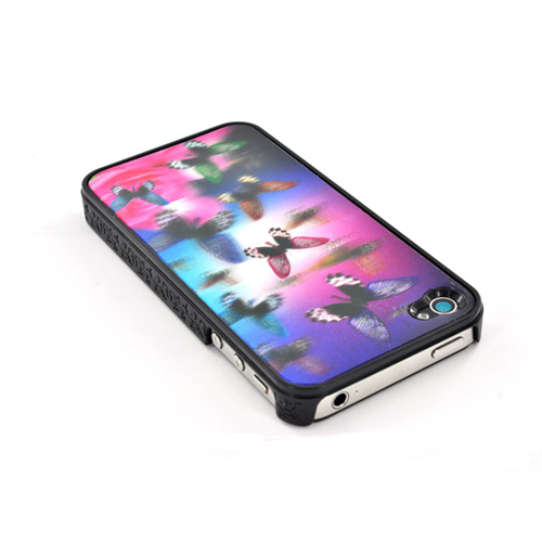 AT&T/ Verizon Apple iPhone 4,iPhone 4S Hologram 3D Hard Case - Dark Butterflies