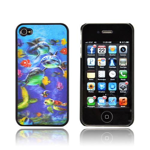 AT&T/ Verizon Apple iPhone 4,iPhone 4S Hologram 3D Hard Case - Sea Life