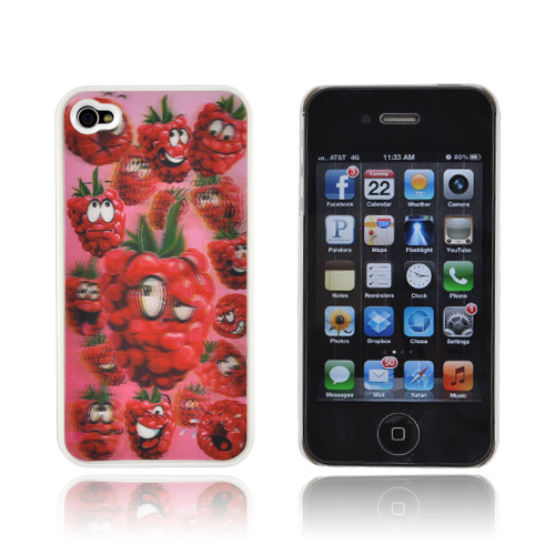 AT&T/ Verizon Apple iPhone 4,iPhone 4S Hologram 3D Hard Case - Raspberries