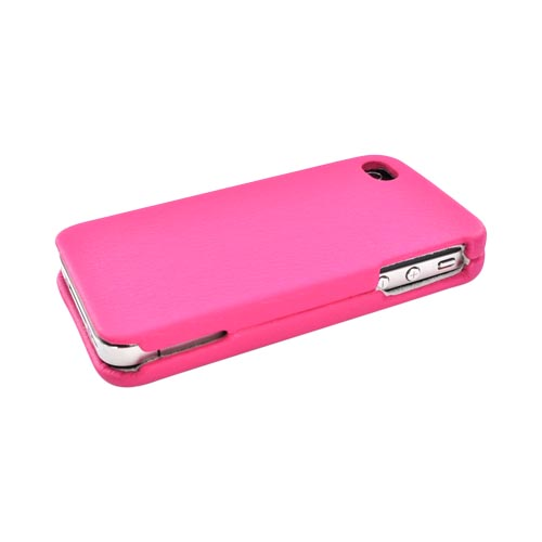 Luxmo Apple Verizon/ AT&T iPhone 4, iPhone 4S Leather Molded Hard Case - Hot Pink