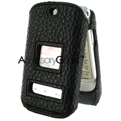 Motorola K1m CDMA Premium Leather Hard Case - Black