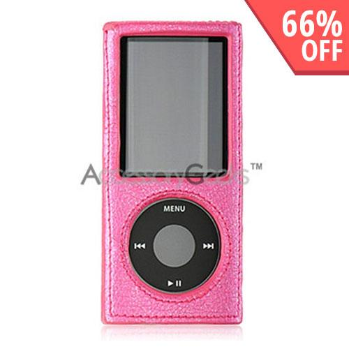Apple iPod Nano 4 Leather Mold Hard Case - Sparkling Pink