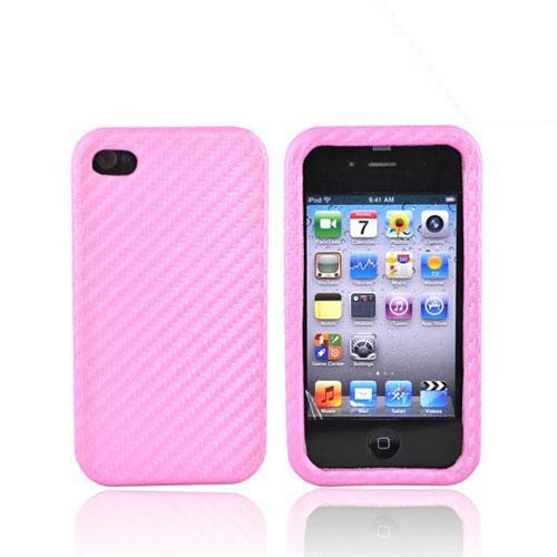 Apple iPhone 4 Hard Leather Case - Carbon Fiber Pink