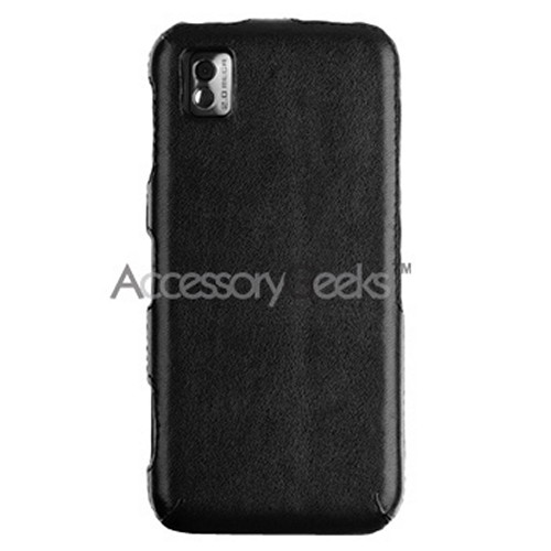Samsung Instinct Leather Molded Hard Case - Black