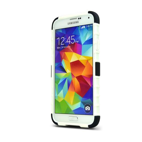 REDShield Black Samsung Galaxy S5 Textured Hard Cover W/ Kickstand on White Flexible Crystal Silicone TPU Case - Fantastic Protection!