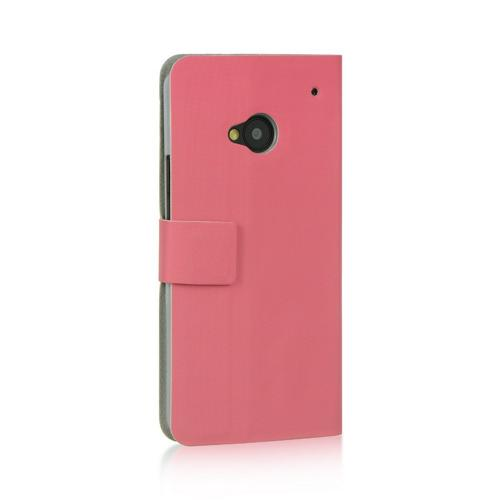 Baby Pink Dolce Faux Leather Case Stand for HTC One