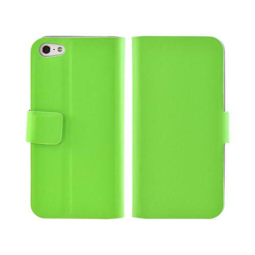 Premium Apple iPhone 5/5S Dolce Faux Leather Case Stand - Green