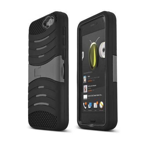 Black Amazon Fire Silicone & Hard Case Armor Hybrid w/ Kickstand - Great Protection!