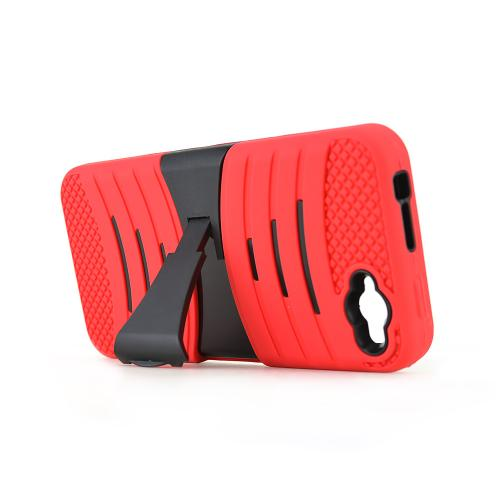 Red/ Black Amazon Fire Silicone & Hard Case Armor Hybrid w/ Kickstand - Great Protection!