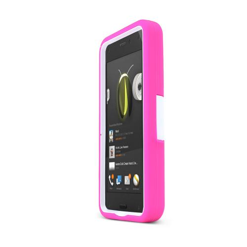 Hot Pink/ White Amazon Fire Silicone & Hard Case Armor Hybrid w/ Kickstand - Great Protection!