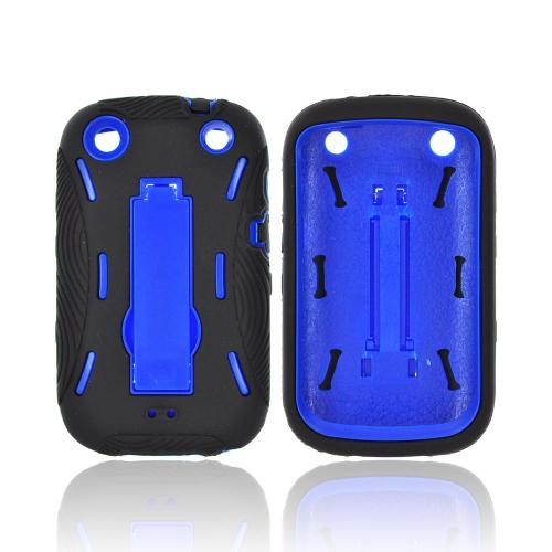 BlackBerry Curve 9310/9320 Silicone Over Hard Case w/ Stand - Black/ Blue