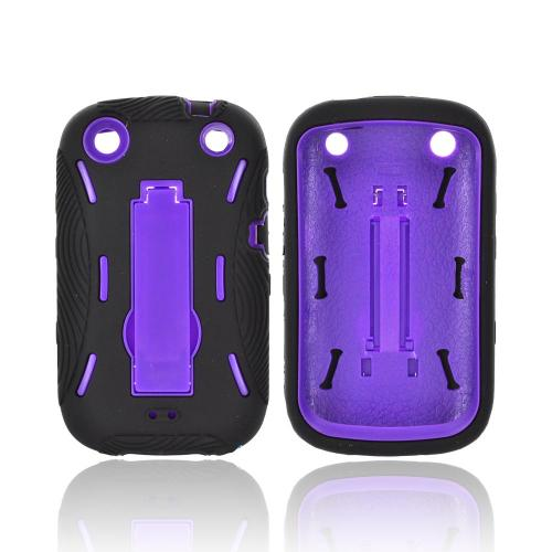 BlackBerry Curve 9310/9320 Silicone Over Hard Case w/ Stand - Black/ Purple