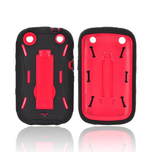BlackBerry Curve 9310/9320 Silicone Over Hard Case w/ Stand - Black/ Red