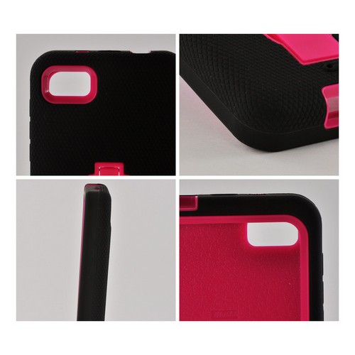 Black Silicone on Hot Pink Hard Case w/ Kickstand for Blackberry Z10