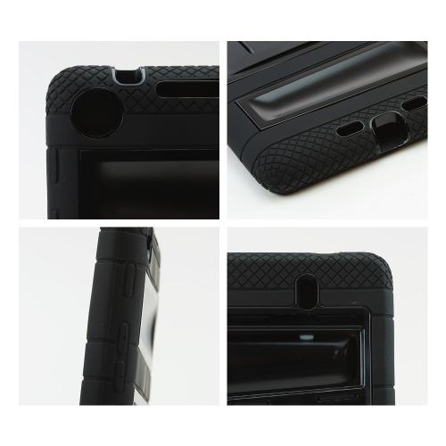 Black Silicone Over Black Hard Case w/ Locking Stand & Hand Grips for Google Nexus 7 2