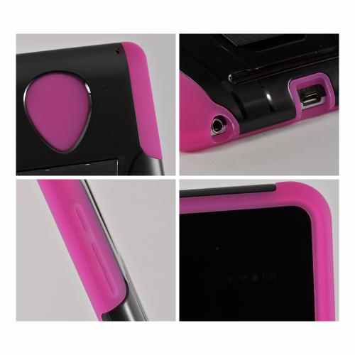 Black/ Hot Pink Hard Case Over Silicone w/ Kickstand for Google Nexus 7