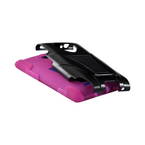 Black Hard Case on Hot Pink Silicone w/ Stand for HTC 8X