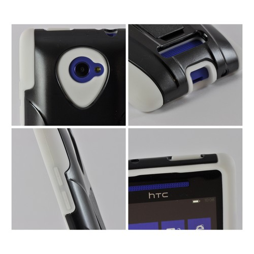 Black Hard Case on White Silicone w/ Stand for HTC 8X
