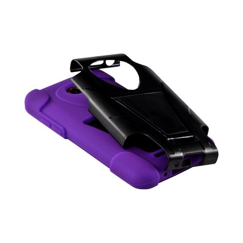 Purple Silicone On Black Hard Case w/ Stand for HTC Droid DNA
