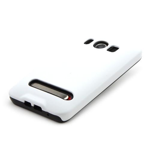 HTC Evo 4G Silicone Over Hard Case - Solid White/ Black