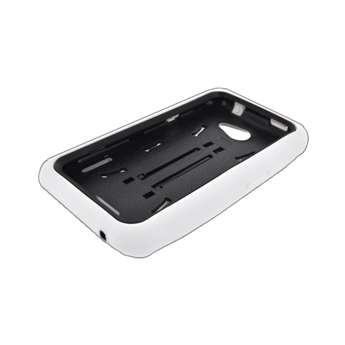 HTC One S Silicone Over Hard Case w/ Stand - White/ Black