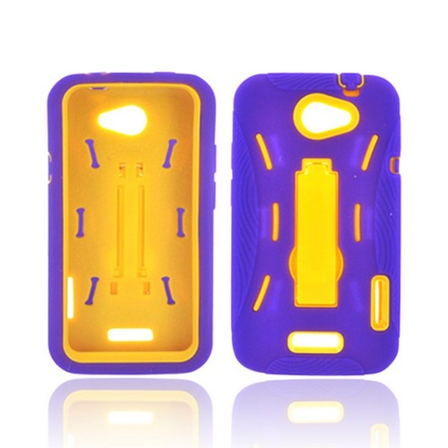 HTC One X Silicone Over Hard Case w/ Stand - Purple/ Yellow