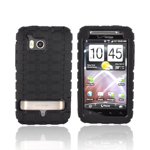 Premium HTC Thunderbolt Silicone on Hard Case - Black Rubber