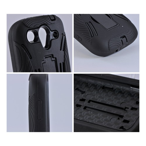 T-Mobile Huawei myTouch 2 Silicone Over Hard Case w/ Stand - Black