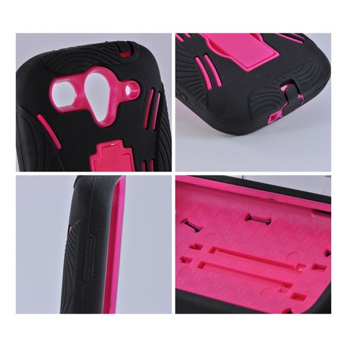T-Mobile Huawei myTouch 2 Silicone Over Hard Case w/ Stand - Black/ Hot Pink