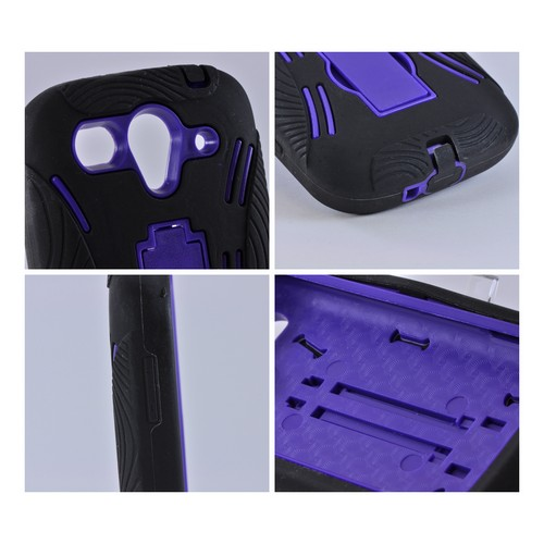 T-Mobile Huawei myTouch 2 Silicone Over Hard Case w/ Stand - Black/ Purple
