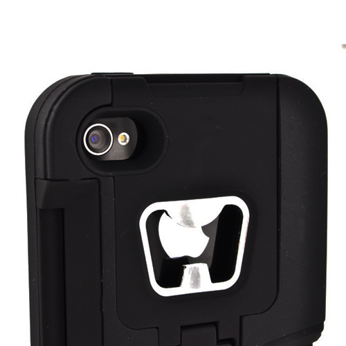 AT&T/ Verizon Apple iPhone 4, iPhone 4S Silicone Over Hard Case w/ Bottle Opener, ID Holder, & Stand - Black