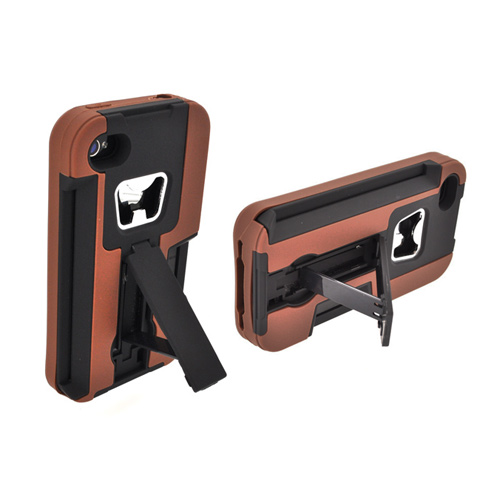 AT&T/ Verizon Apple iPhone 4, iPhone 4S Silicone Over Hard Case w/ Bottle Opener, ID Holder, & Stand - Brown/ Black