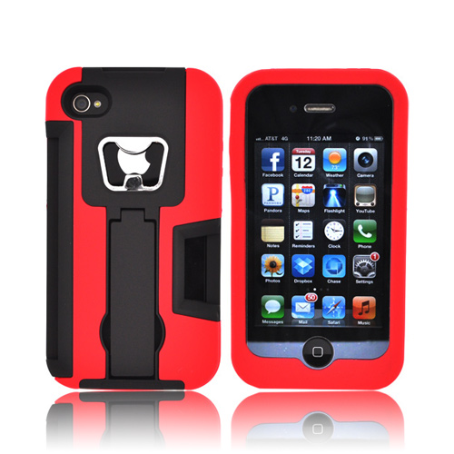 AT&T/ Verizon Apple iPhone 4, iPhone 4S Silicone Over Hard Case w/ Bottle Opener, ID Holder, & Stand - Red/ Black