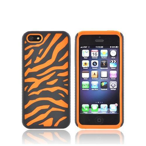 Apple iPhone SE / 5 / 5S  Case,  [Black/ Orange Zebra]  Zebra Shell on Silicone Case