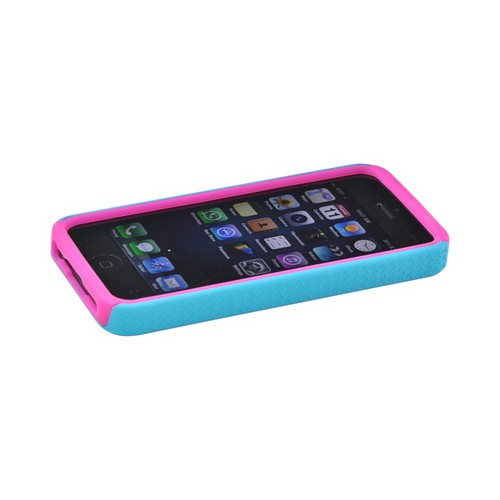 Apple iPhone 5/5S Zebra Shell on Silicone Case -Turquoise/ Hot Pink