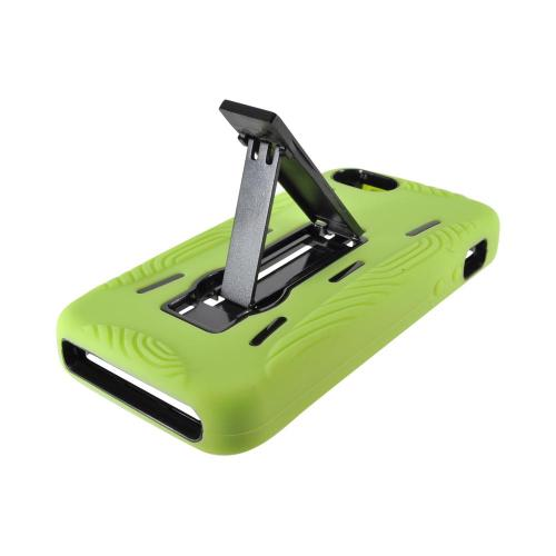 Apple iPhone 5/5S Silicone Over Hard Case w/ Stand - Neon Green/ Black