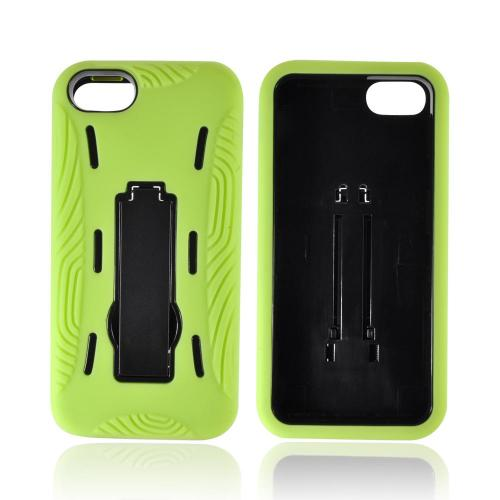 Apple iPhone SE / 5 / 5S  Case,  [Neon Green/ Black]  Silicone Over Hard Case w/ Stand