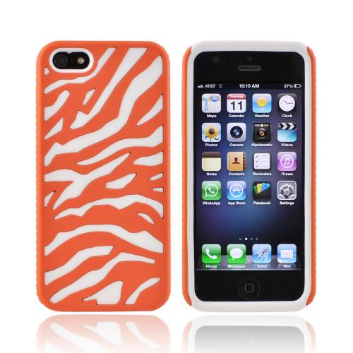 Apple iPhone SE / 5 / 5S  Case,  [Orange/ White]  Zebra Shell on Silicone Case