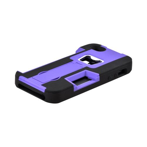 Apple iPhone SE / 5 / 5S  Case,  [Purple/ Black]  Silicone Over Hard Case w/ Bottle Opener w/ ID Holder & Stand