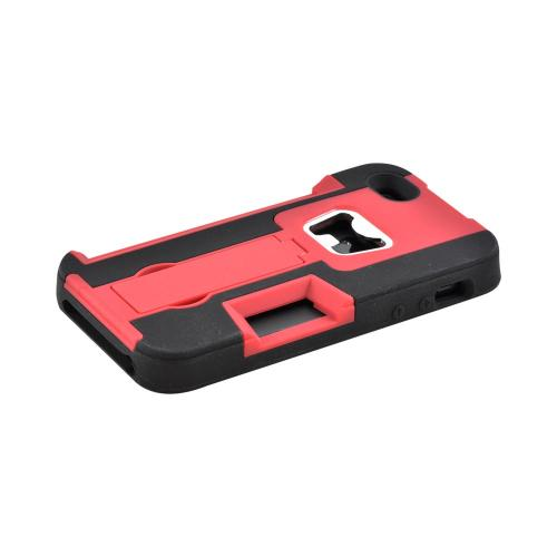 Apple iPhone SE / 5 / 5S  Case,  [Red/ Black]  Silicone Over Hard Case w/ Bottle Opener w/ ID Holder & Stand